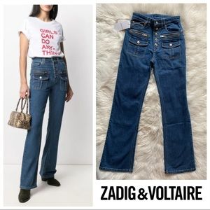 New! ZADIG & VOLTAIRE High Waist Buttoned Jeans